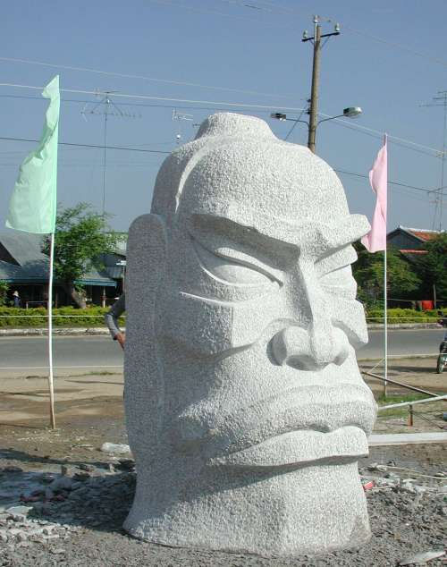 Monumental granite sculpture of legendary Chinese hero General Ba created by Zhang Yaxi during the 4th International Sculpture Symposium Vietnam 2003