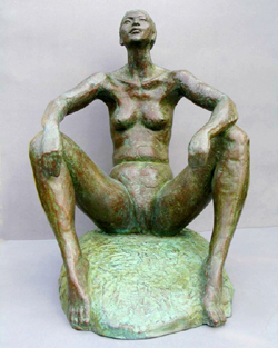 "Click here for larger view and purchase details for ""Confident"" a bronze sculpture by contemporary Chinese sculptor Zhang Yaxi"