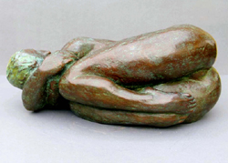 "Click here for larger view and purchase details for ""Curled Up"" a bronze sculpture by contemporary Chinese sculptor Zhang Yaxi"