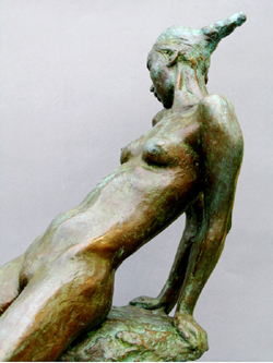 "Click here for larger view and purchase details for ""Defiant"" a bronze sculpture by contemporary Chinese sculptor Zhang Yaxi"