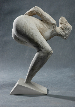 Click here for larger view and purchase details of Looking Out I, a stylized bronze sculpture shown here in plaster