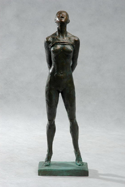 "Click here for larger version and purchase details for ""Provocation III"" an original bronze sculpture by contemporary Chinese sculptor Zhang Yaxi"