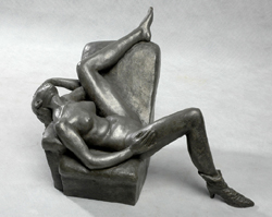 "Click here for larger version and purchase details for ""Provocation V"" an original bronze sculpture by contemporary Chinese sculptor Zhang Yaxi"