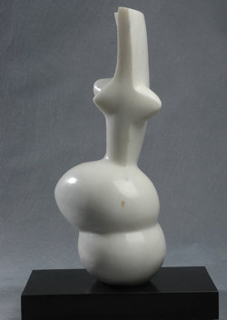 "Click here for a larger view and details of ""Abstract Marble VI - Woman Form"" a white marble sculpture by contemporary Chinese sculptor Zhang Yaxi"