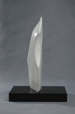 "Click here for a larger view and details of ""Abstract Marble V"" a white marble sculpture by contemporary Chinese sculptor Zhang Yaxi"