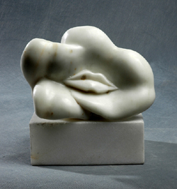 "Click here for a larger view and details of ""Flower Kiss"" a white marble sculpture by contemporary Chinese sculptor Zhang Yaxi"