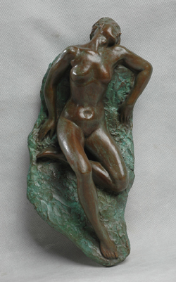 "Click here for larger version and purchase details for ""Wall Nude III"" a bronze relief sculpture by contemporary Chinese sculptor Zhang Yaxi"