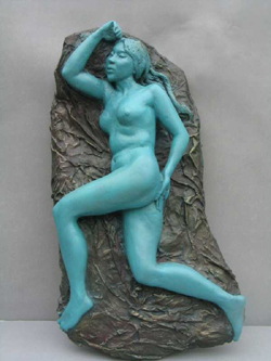 "Click here for larger version and purchase details for ""Wall Nude I"" a relief sculpture by contemporary Chinese sculptor Zhang Yaxi"