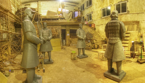 The first 4 Tennis Terracotta Warriors with only their first patination layer applied